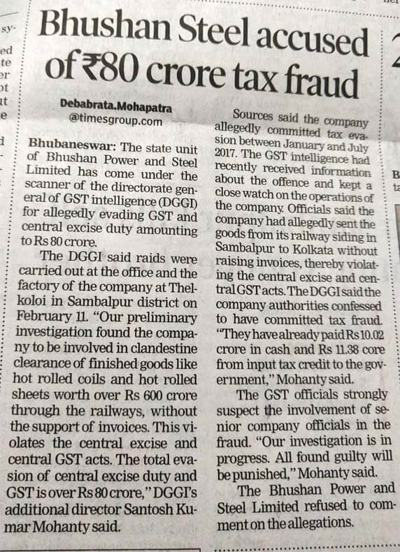 Bhushan steel accused of 80 crore tax fraud